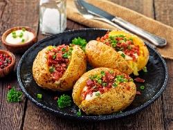 Запечени пълнени картофи с шунка, гъби, крема сирене и кашкавал на фурна - снимка на рецептата
